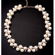 Factory Outlet fashion sparkling rhinestones inlay white pearls beaded woman fashion chokers necklace handmade luxury jewelry