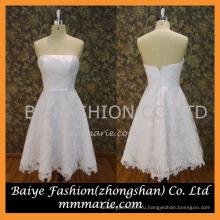 2016 все тело кружева с бантом пояса короткие свадебное платье