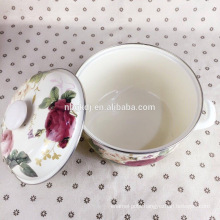 printed enamel flower strait cooking pot
