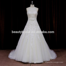 XF530 high corset waist A line wedding dress with pretty sequins lace applique bridal gown