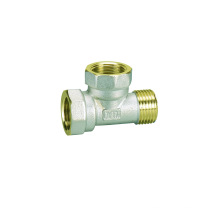 Tee F / F / M (Hz8212) de accesorios de tornillo con color amarillo latón o niquelado, o polaco y cromo