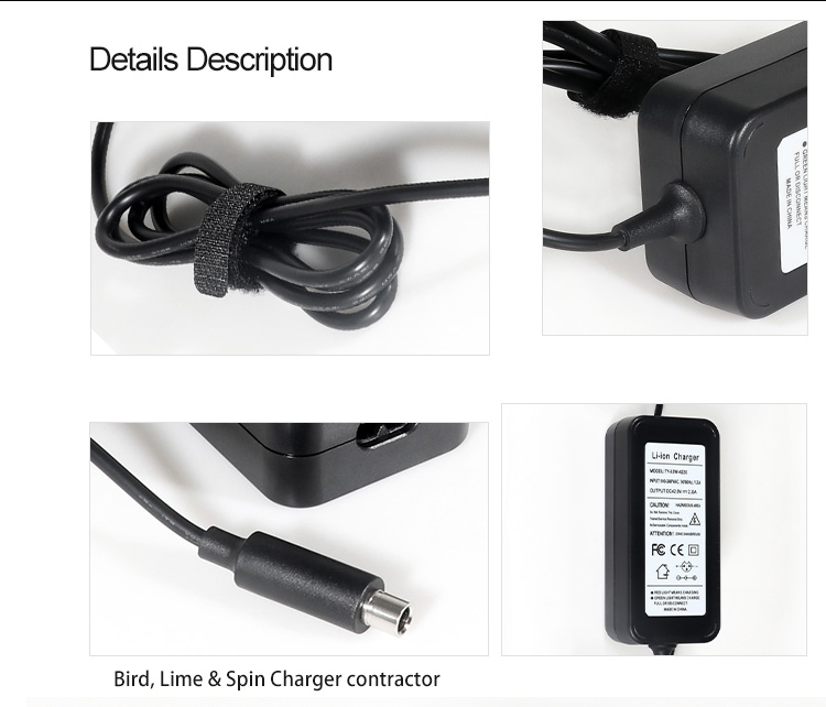 42V 2A Charger for Ebike Scooter