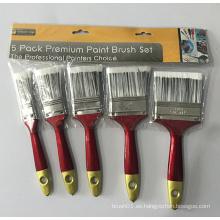 Mango de plástico paquete de cepillo de pintura premium de 5 piezas (yy-611)