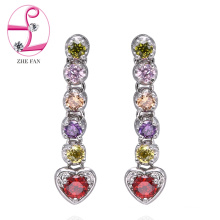 jewelry zhefan mini order factory direct supplier long earrings with colorful cubic zircon earrings