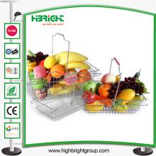 Panier de fil de magasinage en métal de magasin de détail de supermarché