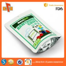 Impression OEM chinoise feuille d'aluminium plastique resellable stand up ziplock doppack papier