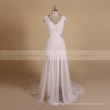 Engaging Boho Sheath Cap Sleeve Lace Chiffon Pleated Wedding Dress