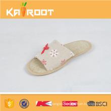 summer natural linen custom logo printed slippers