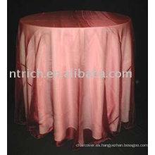 Mantel lino, poliester del mantel/de tabla, superposición de organza