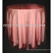 Toalha de mesa/toalha de mesa de linho, poliéster, sobreposição de organza