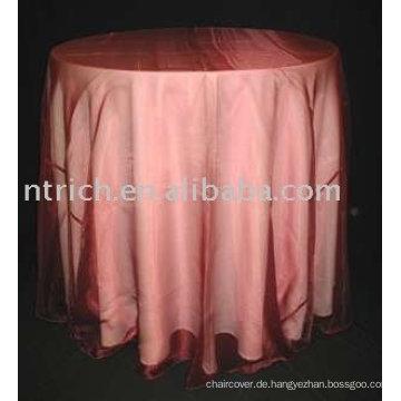 Tischdecke/Tisch Leinen, Polyester Tischdecke Organza-overlay