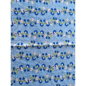 Tela Denim Flower Rayon Poplin shuttle 45S estampado