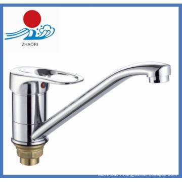 Robinet d'eau d'évier de cuisine chromé à un seul manche (ZR22005-A)