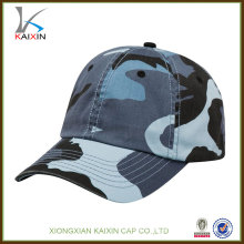 gorra de béisbol de camuflaje azul de algodón de alta calidad
