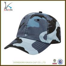 high quality cotton custom blue camo baseball cap