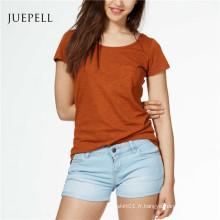 T-shirt décontracté en coton solide pour femme