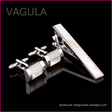 VAGULA Mother of Pearl Tie Bar Sea Shell Tie Pin Gun Black Tie Clip Set (T62281)