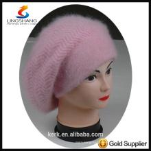 DSC9599 lingshang angora high quality winter Custom Crocheting Knitted peaked beret hat