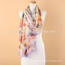 Light Floral Mulberry Silk Long Scarf