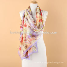 Lenço Longo Floral Mulberry Silk