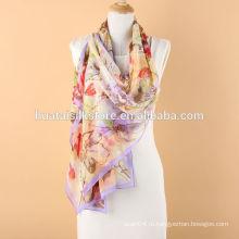Легкий цветочный шелковистый шелковый длинный шарф