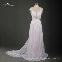 TW0171 Backless Kleid Französisch Lace Stoff Strand Kleid Blush Pink Brautkleid