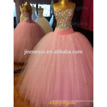 2014 New Design Elegant Beaded Open Back Pink Ball Gown Evening Dress Formal Dress