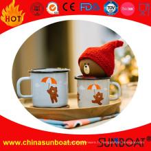 Tasse de lait de petit déjeuner d'émail de logo d'ours / tasse de café