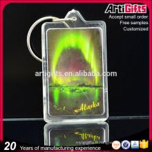 Rectangle personnalisé clair porte-clé acrylique blanc avec photo