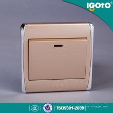Interruptor 20A padrão britânico da moldura dourada com néon