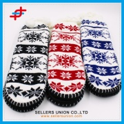 Winter Jacquard Knitted Thick Home Grab Sole Slipper Socks