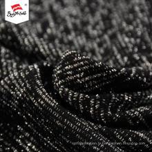 Argent de luxe en gros de tissu tricoté en polyester noir épais