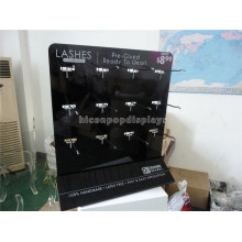 Creative Black Acrylic Cheery Red Lash Counter Display Stand, Metal Hook Lashes Display Stand