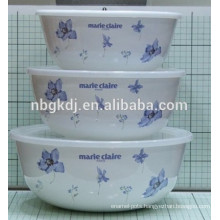 3 sets enamel ice bowl flower decals
