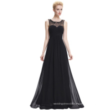 Starzz Sleeveless Black Chiffon Long Cheap Prom Dresses ST000060-1