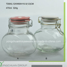 Frasco de armazenamento de vidro oval de 470ml com tampa de vidro do clip Canister