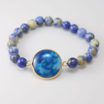 Natural Crystal Bracelet with Agate Pendant Gemstone jewelry