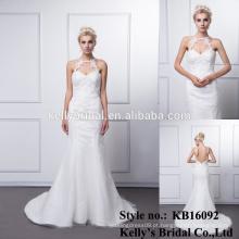 Distribuidor Hot Sale New Arrival Tassel Vestido de casamento de organza branco vestido de noiva vestido de noiva sereia fora dos vestidos de ombro