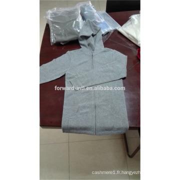 mode tricoté unisexe zippé à capuche cardigan en cachemire avec deux poches
