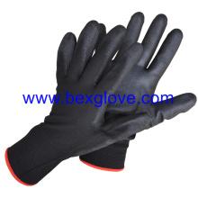 Revestimiento de poliéster calibre 13, guante de poliuretano, color negro