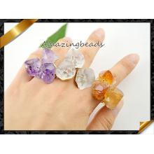Anillo de piedra de Druzy del cuarzo de la amatista, anillos de dedo ajustable de la piedra preciosa del oro plateado (FR005)