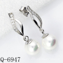Modeschmuck 925 Sterling Silber Perlenohrringe (Q-6947)