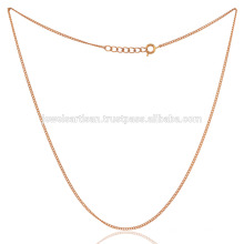 18K Gold überzogene flach verknüpfte Bronze handgemachte 20 Zoll-einfache Kabel-Ketten-Schmucksachen