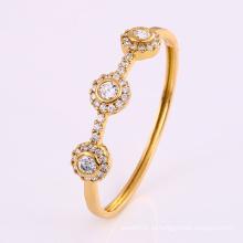 Модный 18-каратный позолоченный элегантный браслет с круглым цирконом