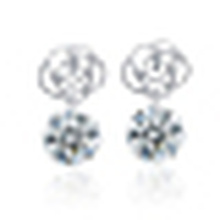 Women′s Simple 925 Sterling Silver Crystal Earrings
