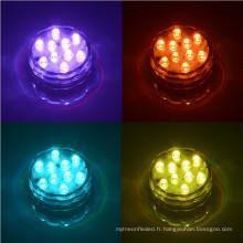 Lumière submersible de 10 LED SOUS-MARIN de BAIN de PISCINE de RVB de SOLEIL avec la télécommande