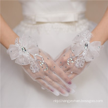 Fishnet white lace appliques bowknot high quality wedding lace gloves