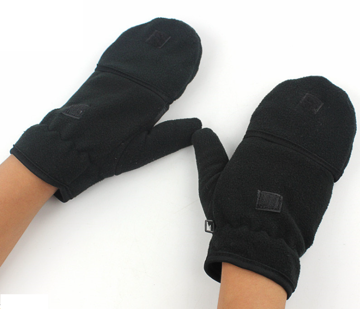 Half Finger Polar Fleece Gloves Black