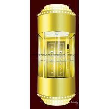 SGS aprobado ascensor de turismo con cubierta dorada