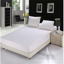 Proveedor de Hotel Alta Calidad 100% Algodón Blanco Elástico equipado hoja (WSFI-2016021)
